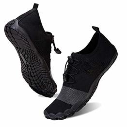 Herren Damen Outdoor Fitnessschuhe Barfußschuhe Trekking Schuhe Badeschuhe Schnell Trocknend rutschfest(Schwarz,39) - 1
