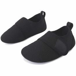 L-RUN Jungen Mädchen Schnell trocknende Barfuß-Aqua-Socken für Beach Pool Strip Black 2.5-3 = EU18-19 - 1