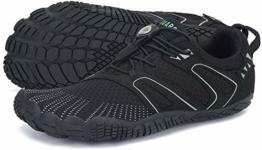 SAGUARO Barfussschuhe Herren Outdoor Fitnessschuhe Damen Barfuß Laufschuhe Walkingschuhe Minimalistische Zehenschuhe Traillaufschuhe St.1 Schwarz 43 - 1