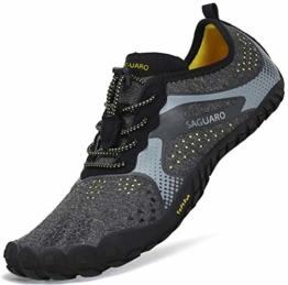 Sommer Barfußschuhe Herren Trail Laufschuhe Damen Indoor Outdoor Sport Fitnessschuhe Leicht Zehen Wander Trekking Schuhe für Frauen Männer Schwarz Gr.42 - 1