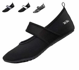 WeWee Die gesunden Allround-Barfußschuhe Damen - Vielseitig einsetzbare Minimalschuhe aus Neopren Wasserschuhe, Strandschuhe Badeschuhe, Schwarz, 40/41 EU(Herstellergröße: XL) - 1