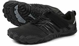 WHITIN Herren Damen Traillaufschuhe Minimalistische Barfußschuhe 5 Five Finger Zehenschuhe Fivefinger Trail Laufschuhe Fitnessschuhe Fitness Barfussschuhe für Männer Minimus Tennis Schwarz Größe 42 - 1